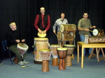 Bedford Djembe Group rehearsing, photo by Lorna Reay |