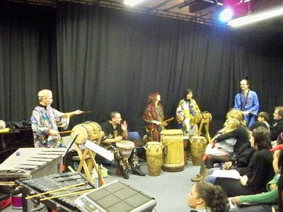 Bedford Djembe Group performing at The Arena Building, photo by Lee Stanley |